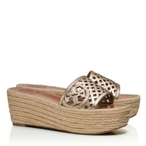 Tory Burch Thatched Perforated Wedge Sandals EUC